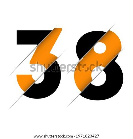 38 3 8 number logo design with