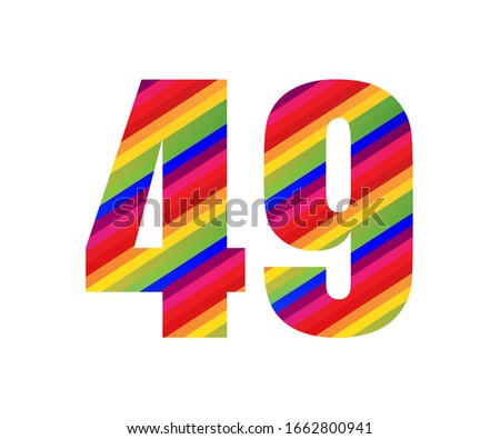 49 number rainbow style numeral