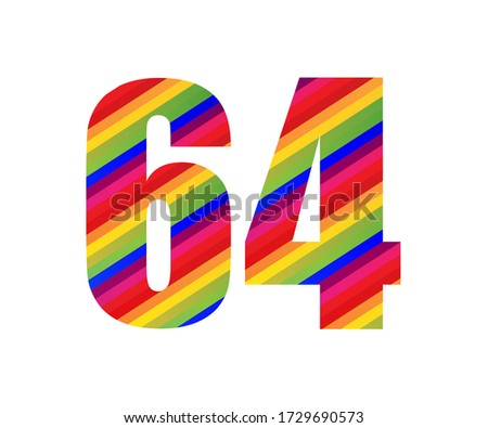 64 number rainbow style numeral