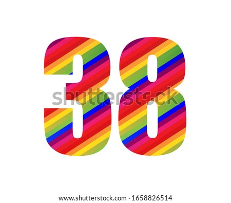 38 number rainbow style numeral