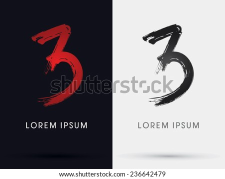 3  number three  grungy font