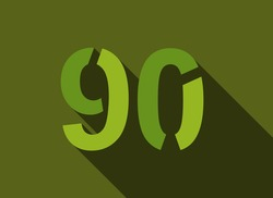 90 Number with long shadow, green colors cutting style. For logo, brand label, design elements, corporate identity, application & more. Vector editable illustration.
