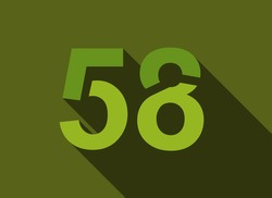 58 Number with long shadow, green colors cutting style. For logo, brand label, design elements, corporate identity, application & more. Vector editable illustration.