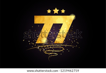 77 number with star and golden