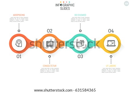 4 numbered round elements with thin line icons inside successively connected into horizontal chain. Minimal infographic design template. Vector illustration for presentation, banner, website, report.