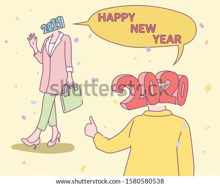 2020 numbers face on human body. Anthropomorphic concept. The number 2020 is saying goodbye to number 2019. hand drawn style vector design illustrations.