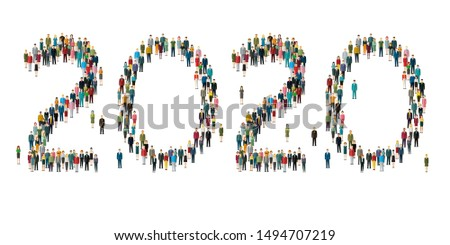 2020 Numbers formed out from people. Top view. Flat design, vector illustration