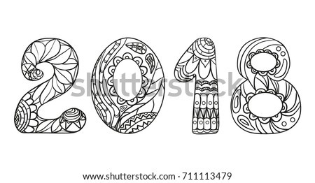 happy new year zentangle hand drawn numbers with abstract patterns on