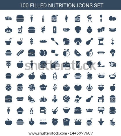 100 nutrition icons. Trendy nutrition icons white background. Included filled icons such as burger and drink, corn, burger with pepper, chicken leg. nutrition icon for web and mobile.