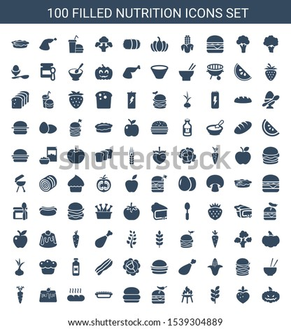 100 nutrition icons. Trendy nutrition icons white background. Included filled icons such as pumpkin haloween, strawberry, wheat, bbq, burger with pepper. nutrition icon for web and mobile.
