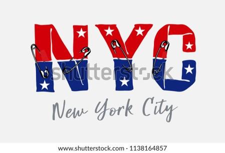 ์NYC slogan with pin illustration