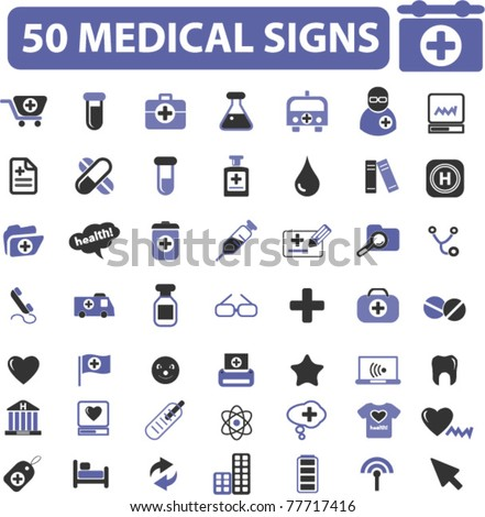 5o medical icons, signs, vector illustrations