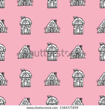 [object Object]Christmas seamless background with cute houses. Houses on pink background. Hand drawing. Vector.