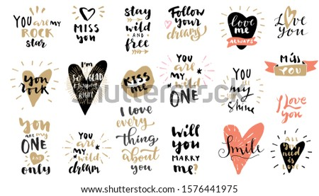 [object Object]Set of Love vintage hand drawn retro style quotes in black, pink and gold colors on white background. For postcards, photo overlays, greeting cards, T-shirts, bags. Vector EPS10 calligr