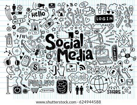 Objects and symbols on the social media element vector illustration