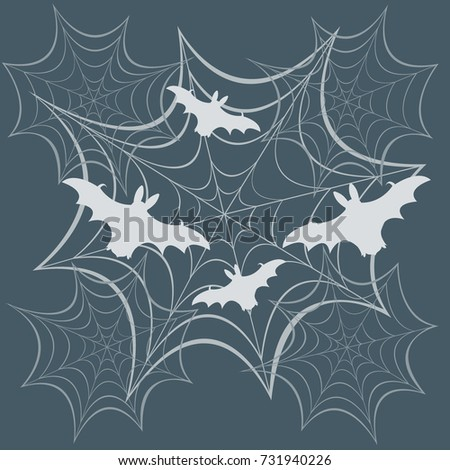 Ð¡obwebs and bats. Halloween symbols.  Design for party card, announcement, advertisement, print.
