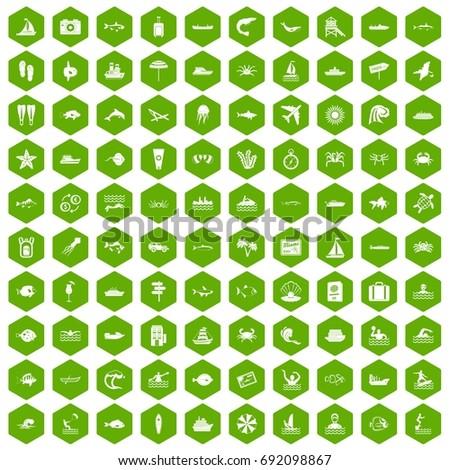 100 ocean icons set in green