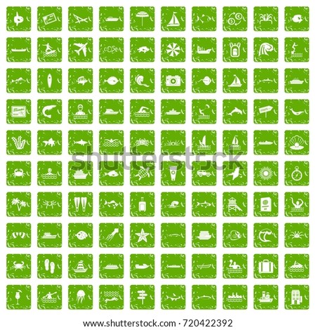 100 ocean icons set in grunge