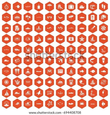 100 ocean icons set in orange