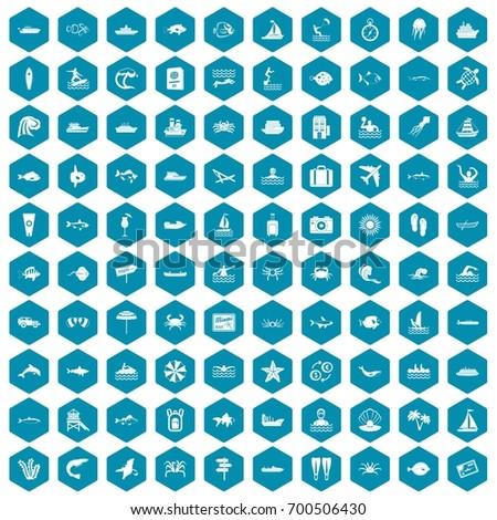 100 ocean icons set in