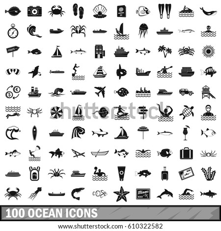 100 ocean icons set in simple