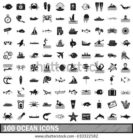 100 ocean icons set in simple