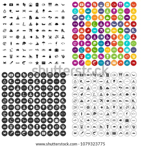 100 ocean icons set vector in 4