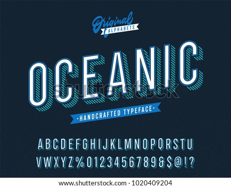 """""""Oceanic"""" Slanted Blue Vintage Stylish Alphabet with Striped Shadow. Original Old School Retro Typeface. Condensed Letters, Numbers and Symbols. Vector Illustration."""