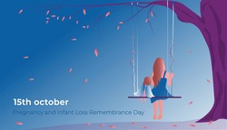 October 15th is Pregnancy and Infant Loss Remembrance Day.  Falling leaves. Woman with a baby angel sitting on a swing.