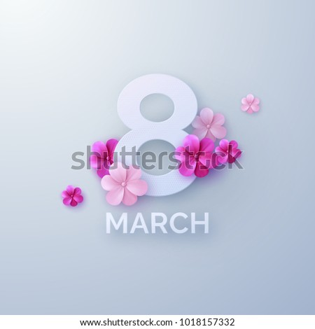 8 of March. International Womens Day. Vector paper cut illustration with pink paper flowers. Holiday origami style banner. Realistic festive decoration element for design. Feminism concept #1018157332