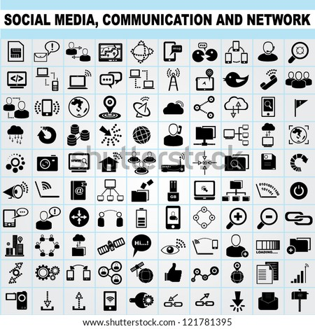 100 of social media, network communication icons set, vector
