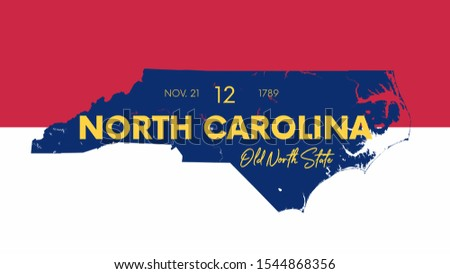 12 of 50 states of the United States with a name, nickname, and date admitted to the Union, Detailed Vector North Carolina Map for printing posters, postcards and t-shirts Stock fotó ©