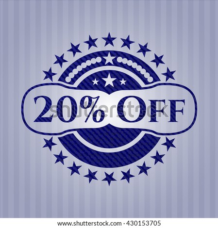 20% Off badge with denim background
