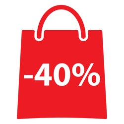 -40% Off bag icon.. Red color. Vector illustration.