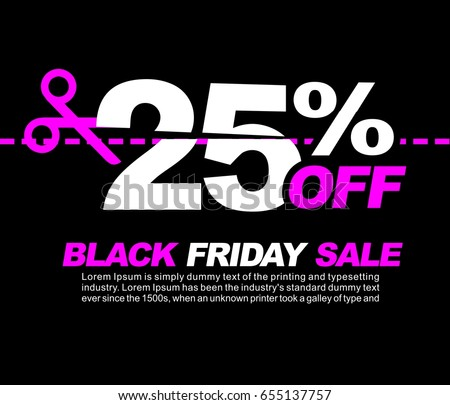 25% OFF Black Friday Sale, Promotional Poster or Sticker Design Vector Illustration