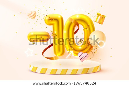 10% Off. Discount creative composition. 3d Golden sale symbol with decorative objects, heart shaped balloons, golden confetti, podium and gift box. Sale banner and poster. Vector illustration.