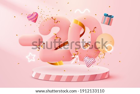 20% Off. Discount creative composition. 3d sale symbol with decorative objects, heart shaped balloons, golden confetti, podium and gift box. Sale banner and poster. Vector illustration.