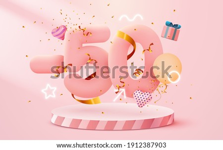 50% Off. Discount creative composition. 3d sale symbol with decorative objects, heart shaped balloons, golden confetti, podium and gift box. Sale banner and poster. Vector illustration.