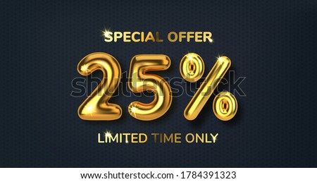 25 off discount promotion sale made of realistic 3d gold balloons. Number in the form of golden balloons. Template for products, advertizing, web banners, leaflets, certificates. Vector illustration Foto stock ©