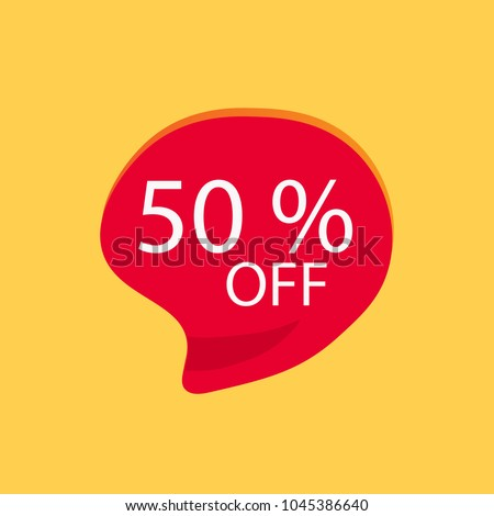 50% off discount sticker, on yellow background, Special offer sale red tag isolated vector illustration. Discount offer price label,