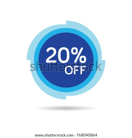 20% OFF Discount Sticker. Sale Blue Tag Isolated Vector Illustration. Discount Offer Price Label, Vector Price Discount Symbol.
