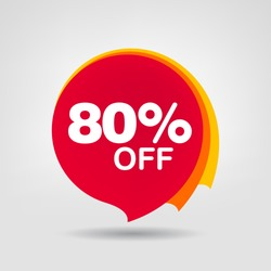 80% OFF Discount Sticker. Sale Red Tag Isolated Vector Illustration. Discount Offer Price Label, Vector Price Discount Symbol.