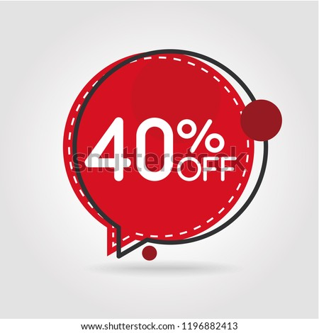 40% OFF Discount Sticker. Sale Red Tag Isolated Vector Illustration. Discount Offer Price Label, Vector Price Discount Symbol.