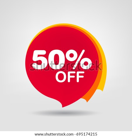 50% OFF Discount Sticker. Sale Red Tag Isolated Vector Illustration. Discount Offer Price Label, Vector Price Discount Symbol.