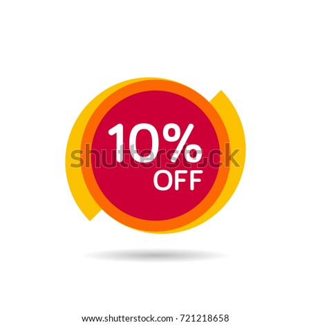 10% OFF Discount Sticker. Sale Red Tag Isolated Vector Illustration. Discount Offer Price Label, Vector Price Discount Symbol.