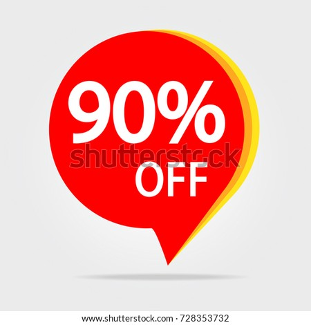 90% OFF Discount Sticker Symbol. Sale Red Tag Isolated Vector Illustration. Offer Price Label.