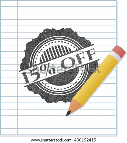 15% off draw with pencil effect