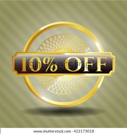 10% Off gold emblem or badge