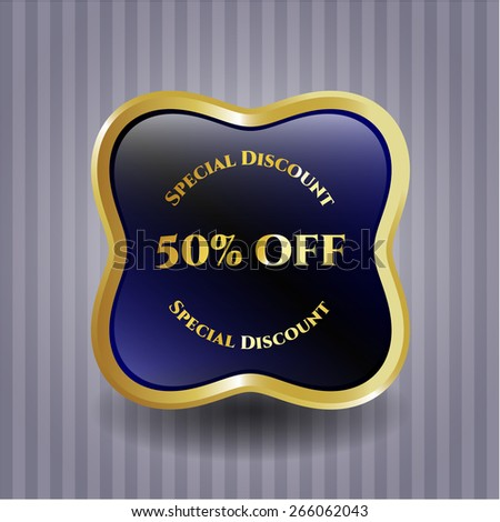 50% off gold shiny blue badge. Special discount badge with background.