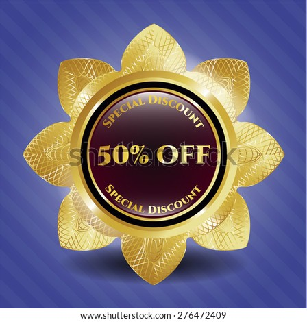 50% off gold shiny flower